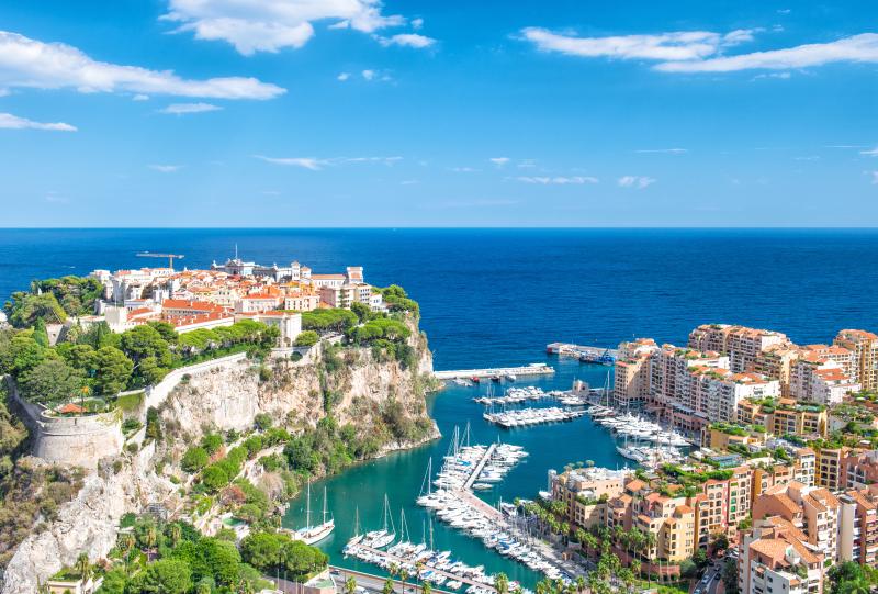 Canva – Monaco Fontvieille Monaco marina Mediterranean sea blue sky